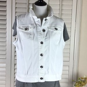 Baccini White Denim Vest Size XL